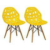 Mod Made Modern Stencil Cut Out Eiffel Dining Side Chair (Set of 2), Yellow