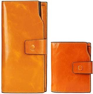 Women's RFID Blocking Credit Card Holder Genuine Leather Zipper Accordion Wallet, Brown-6