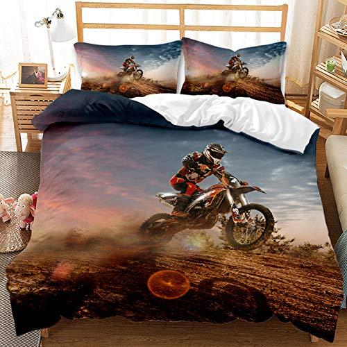 Juego de ropa de cama de motocicleta vintage para niños, motocross, con funda de almohada, funda de edredón de microfibra suave para adultos adolescentes (B, 220 x 240)