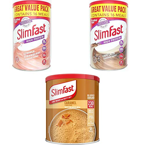 SlimFast KIT Made of High Protein Meal Replacements Shakes (Caramel 292g, Strawberry 584g, Cafe Late 584g), 3 Flavours in One Handy Kit