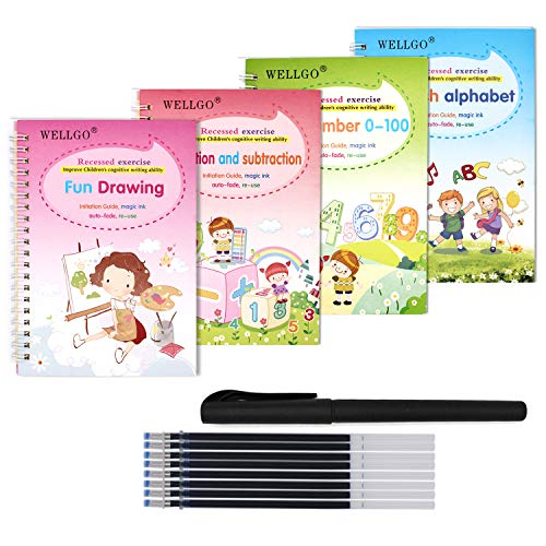 Spidfee Magic Practice Copybook for Kids with Pen Reusable Handwriting Practice Book Set for Kids Grooves Calligraphy Writing Paste Board- Alphabet Number Drawing Math