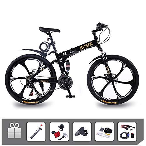 EUSIX X9 VTT 26 Pouces pour Hommes Femmes Cadre en Aluminium Vélo Pliant avec Double Suspension Et...