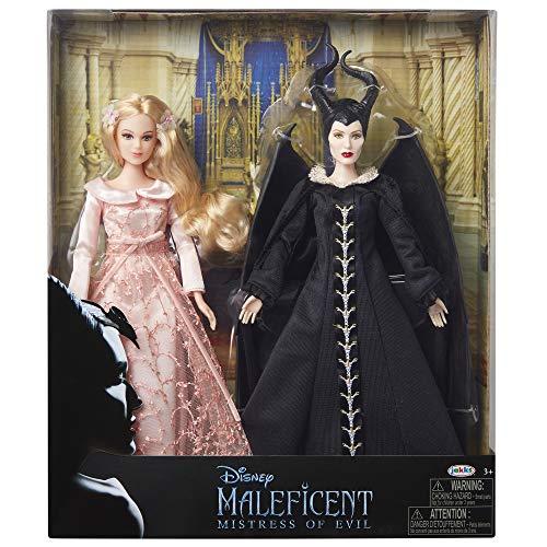 Maleficent 210024 Disney 2: Mistress of Evil-Aurora & Maleficent Collectible Two Set, 29,2 cm Bambole Vestito nel Loro Bellissimo Abito da Festa con Dettagli in Raso Ricamato