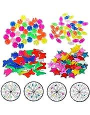 JAHEMU Cykel ekrar pärlor plastklämma cykel hjul ekrar pärlor tråd pärlor flerfärgade cyklar tillbehör dekorationer för barn 133 st
