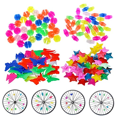 JAHEMU Decorazioni per Bicicletta Bicycle Spoke Beads Ruota della Bicicletta Clip Perline in Plastica Colorata Biciclette Accessori per bambini 133 Pz