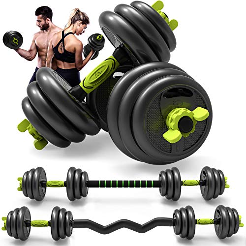 Adjustable Weight Dumbbell Curl Barbell Set 3in1 Dumbbell Pairs Set of 5/10/15/20/44lbs Home Fitness Equipment for Adult Gym Workout Strength Training with Curl Rod Used as Barbell