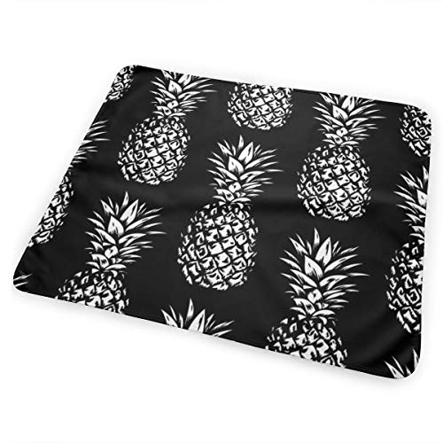 Classic Pineapples White On Black, Small Bed Pad Washable Waterproof Urine Pads for Baby Toddler Children and Adults 31.5 X 25.5 inch