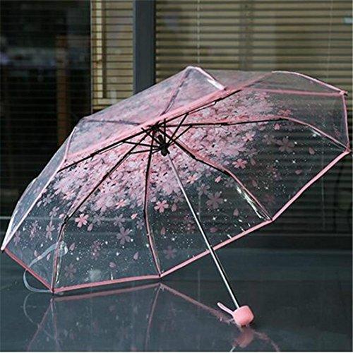 samLIKE Regenschirm,Transparenter klarer Regenschirm Kirschblüten Pilz Apollo Sakura 3 Falten Regenschirm (Rosa)