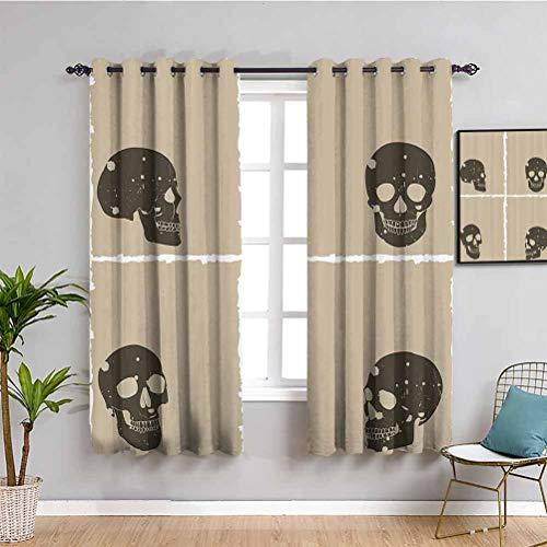 Grunge - Cortina de aislamiento térmico con diseño de calavera en marco plano y murky, diseño de monstruo espeluznante, color marrón oscuro