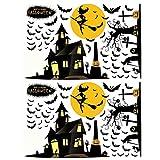 BESTOM Pegatina de 2 Hojas Patrón de Bruja Parodia Decorativa Creativa Extraíble Divertido Cartel de Pared Pegatina de Halloween Pegatina de Pared para Puerta de Escaparate