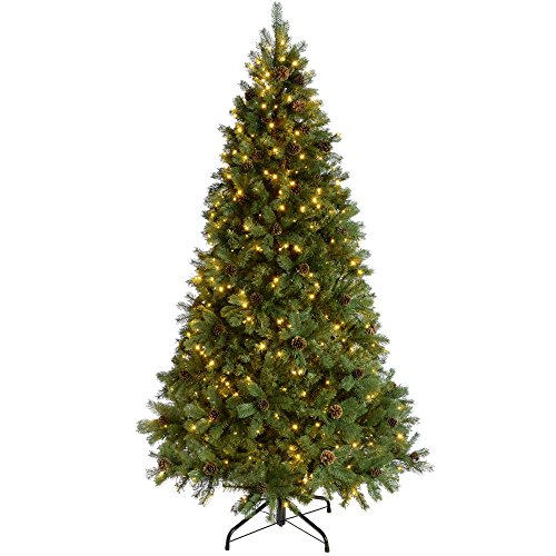 WeRChristmas Pre-Lit Craford Christmas Tree with Pinecones & 500 Chasing Warm LED Lights, 7 feet/2.1m