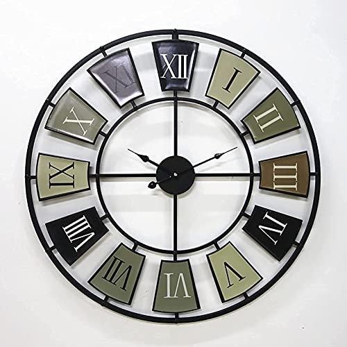 TBUDAR Arte Antiguo Europeo Y Estadounidense Hierro Forjado Reloj De Pared Decoración Hueca Metal Hierro Laboral Números Romanos Romanos Sala De Estar Dormitorio Dormitorio Dormitorio