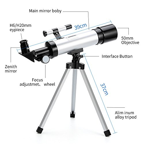 Telescope Star Finder with Tripod F36050 HD Zoom Monocular Space Astronomical Spotting Scope for Kids and Beginner (Small)