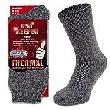 HEATEX Herren und Damen Thermosocken mit Kälteschutz Extrem Warm TOG 2.3 Vollfrottee Winter Thermo-Socken Gefüttert (2 Paar) Grau 41-46