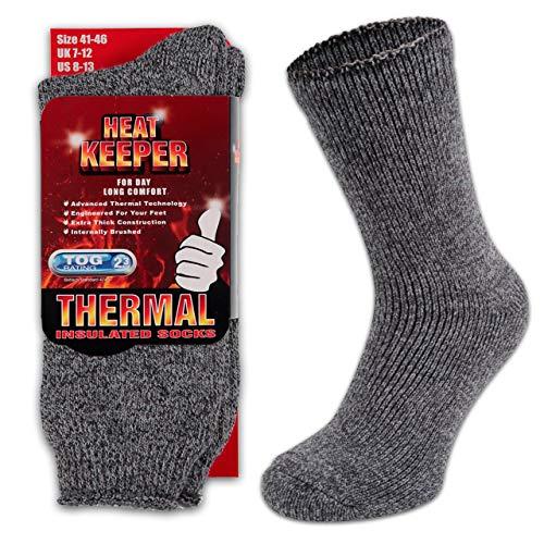 HEATEX Herren & Damen Thermosocken mit Kälteschutz Extrem Warm TOG 2.3 Vollfrottee Winter Thermo-Socken Gefüttert (1 Paar) Grau 41-46