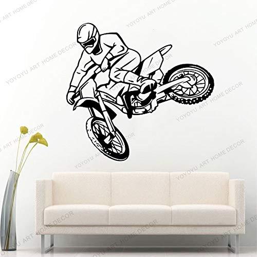 Muurtattoo motorcross vrije stijl crossmotor sticker slaapkamer sport crossmotor motorfiets gepersonaliseerde kinderkamer voor tieners 42x45cm