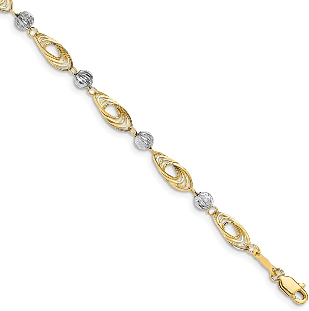 FB Jewels Solid San Antonio Mall 14K Gold Two-Tone Oval White 4 years warranty With Links Bea