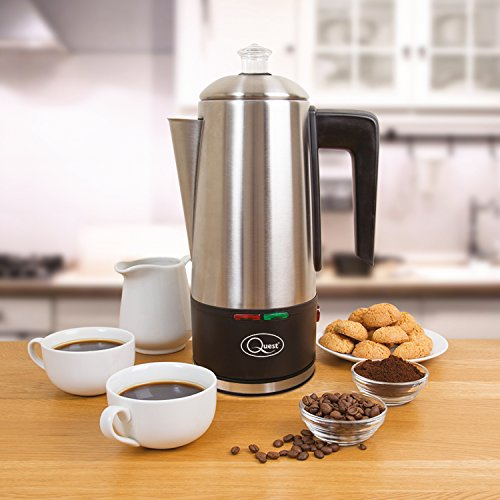 Quest 35200 1.5L Electric Coffee Percolator / Stainless Steel / Integrated Filter / Keep-Warm Function / Instant Coffee, Espresso, Macchiato & More / 21 x 33 x 14cm / 1100W