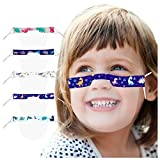 Lip Language Visual Transparent Face Covering with Planet & Animals Printed Patterns, PVC Washable Reusable Facial Bandana with Clear Expression Window for Kids