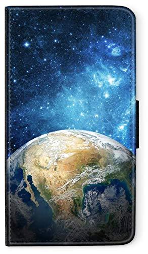 blitzversand Flip Case Astronaut Space kompatibel für Huawei P9 LITE Der Blaue Planet Erde Handy Hülle Leder Tasche Klapphülle Brieftasche Etui rund um Schutz Wallet M2
