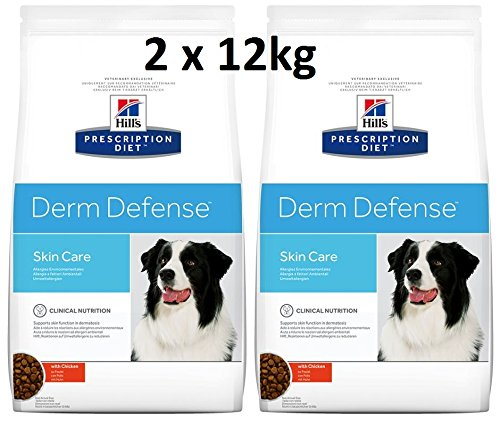 Royal Canin Hill's Prescription Diet Derm Defense Skin Care - Comida para perros con pollo (2 x 12 kg)