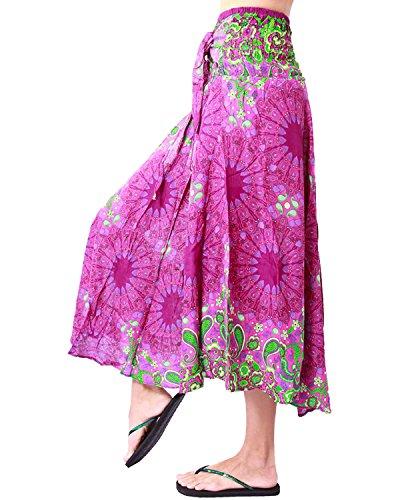 Rita & Risa Women's Elastic Waist Floral Bohemian Maxi Office/Beach Skirt (Pink)