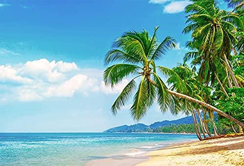 Fondo de fotografía de Playa Tropical Junto al mar Verano Boda bebé cumpleaños Ducha Fiesta Foto Estudio telón de Fondo A19 9x6ft / 2,7x1,8 m