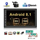 Android 2G + 16G Quad Core 2Din Autoradio Navigation GPS Audio Embarquée, 7 Pouces Écran Tactile MP5 Poste Radio Voiture Support BT USB WiFi avec Caméra Arrière Gratuite et Lien Miroir