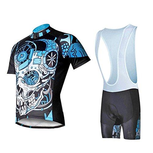 XY-QXZB Maglia Manica Corta Bike Cycling Uomo con Salopette Terylene Asciutto rapido Respirabile Collant T-Shirt Salopette Pantaloni della Bici Abbigliamento Tute, XL