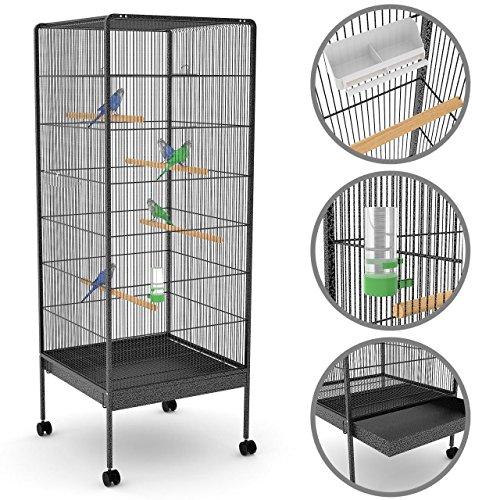 Vogelvoliere Vogelkäfig mit Sitzstangen, Vogelhaus mit Türen, Vogelbauer auf Rollen, Nagerkäfig,...