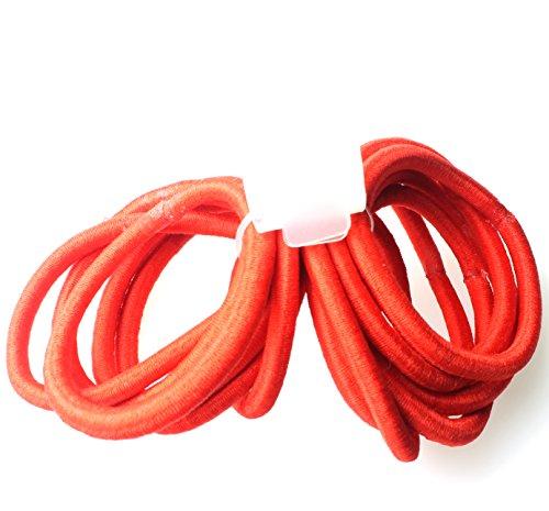 Lot de 12 élastiques épais sans accroc pour cheveux sans fin Rouge