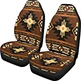 Dreaweet Aztec Universal 2pc Navajo Print Front Seat Covers Gift for Men Women Bucket Seat Cover Saddle Blanket Protectors for Car, SUV & Truck