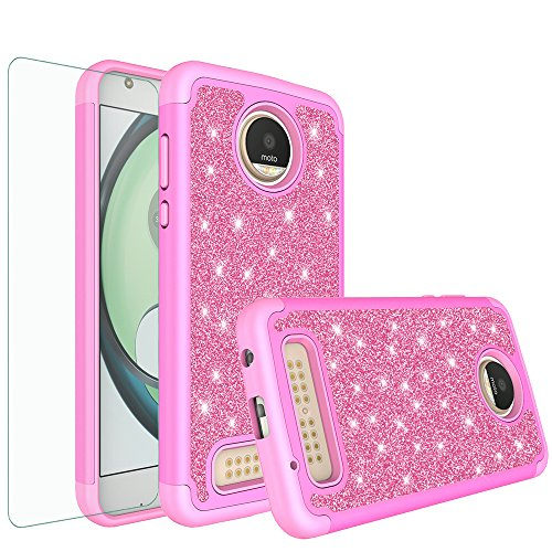 Moto Z2 Force Case, Moto Z2 Force Glitter Bling Heavy Duty Shock Proof Hybrid Case with [HD Screen Protector] Dual Layer Protective Phone Case Cover for Motorola Moto Z2 Force - Hot Pink