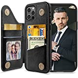 LOHASIC for iPhone 12 Pro Max Wallet Case Men, 5 Card Holder Phone Cover Credit Slot PU Leather Protective Kickstand Magnetic Folio Portfolio Women, Fancy Travel Photo Pocket 12 ProMax 6.7 Inch Black