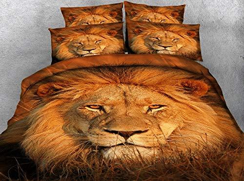 BEDSETAAA Juego De Cama 3D Animal Lion Head con Funda De Almohada Acolchada, 200X230Cm