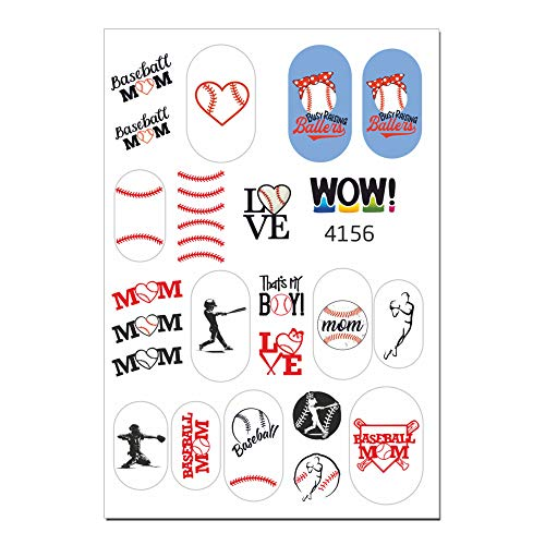 22 Love Baseball Professional Quality 3D Effect Water Nail Stickers for Your Nail Art Design (3D-4156)