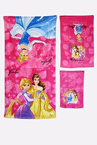 S.L. Home Fashions 3 Pieces 100% Cotton Bath, Hand, and Fingertip Towel Sets (Princess)