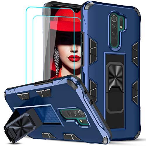 LeYi Funda Xiaomi Redmi 9 con [2-Unidades] Cristal Templado Protector Pantalla, Armor Carcasa Antigolpes PC Silicona TPU Bumper Magnético Buit-in Soporte, Case Redmi 9 Azul