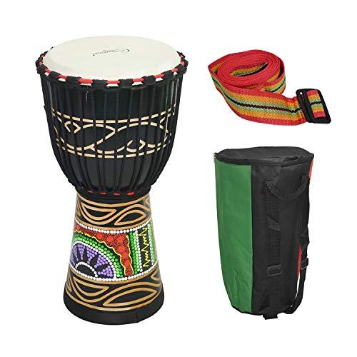 Muslady Camwood Tambor Africano 10 pulgadas de Madera Djembe Bongo Congo Tambor de Mano Percusión Instrumento Musical Material de Caoba Negro con Patrones Coloridos