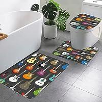 バスルームラグセット3ピース、カラフルなギタープリントノンスリップバスマット+ U字型コンターラグ+トイレふたカバー