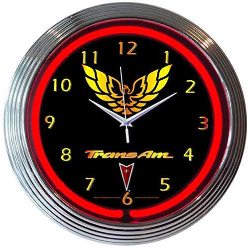 GM Trans Am Pontiac Electric Neon 15 Inch Wall Clock Glass Face Chrome Finish Warranty