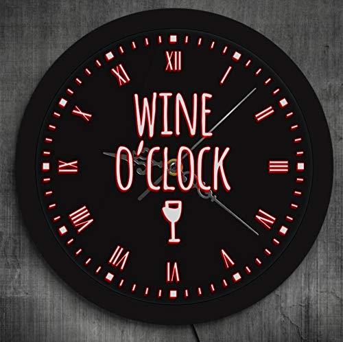 DFERT Reloj De Pared Wine O'Clock It's Wine Time Alcohol Led Reloj De Luz De Pared Regalo De Amante del Vino Pub Bar Decoración De Fiesta De Vino Reloj De Pared Luminoso Copa De Vino
