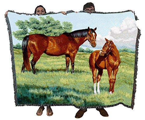 Pure Country Weavers My Pride Mare Horse and Foal - Bob Christie - Blanket Throw Woven from Cotton - Made in The USA (72x54)