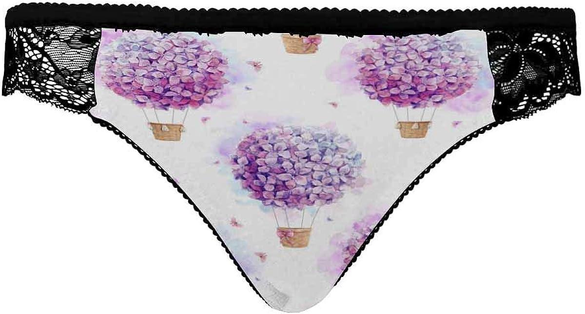 InterestPrint Women's Stretch Underwear Soft Low Rise Briefs Underpants Purple Hydrangeas Balloon Flowers