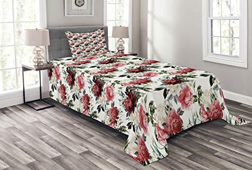 ABAKUHAUS Shabby Chic Tagesdecke Set, Blumen-Rosen-Knospen, Set mit Kissenbezug Mit Digitaldruck, für Einselbetten 170 x 220 cm, Olivengrün Kastanienbraun Rot