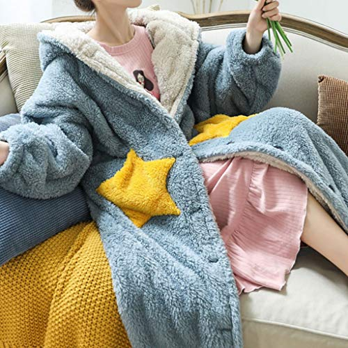 NXYJD Ladies Winter Blanket Hoodie Blanket with Sleeves Oversized Blanket Plush Coat Warm Fluffy Hooded Sweatshirt (Color : D, Size : Medium)