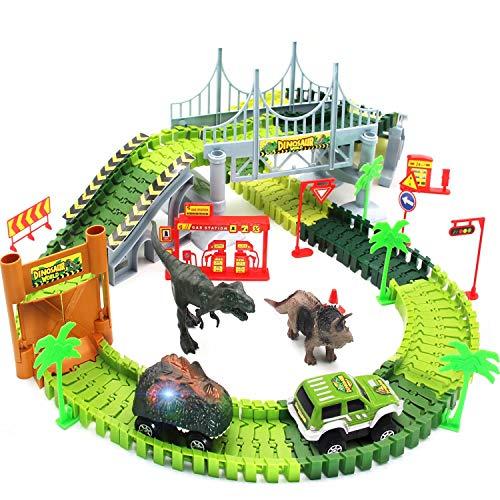 Bdwing Coches de Dinosaurios Juguetes,Circuito de Coches en el Parque Jurásico Mundo Dinosaurios Conjunto Incluye Vías Flexibles, Vehículo, Dinosaurios y Accesorios ,Niños 2 3 4 5 6 Años
