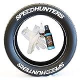 Tire Stickers SpeedHunters – Kit de Letras de Goma Permanente para neumáticos con Pegamento y Limpiador de retoque de Botellas de 2 onzas (Paquete de 8)