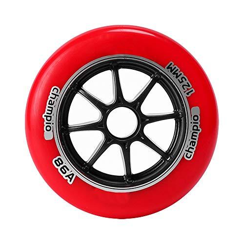 TGHY 2 Piezas Rueda de Patín en Línea para Patinaje de Velocidad 100mm 125mm Rueda de Patinete Rueda de Repuesto 86A PU,Rojo,125mm