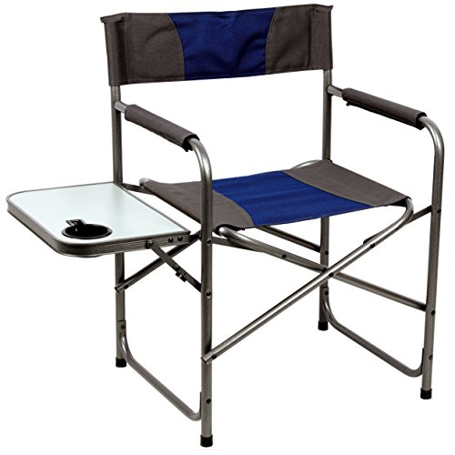 PORTAL Compact Steel Frame Folding Director's Chair Portable Camping Chair with Side Table, Supports 225 LBS, Blue/Grey